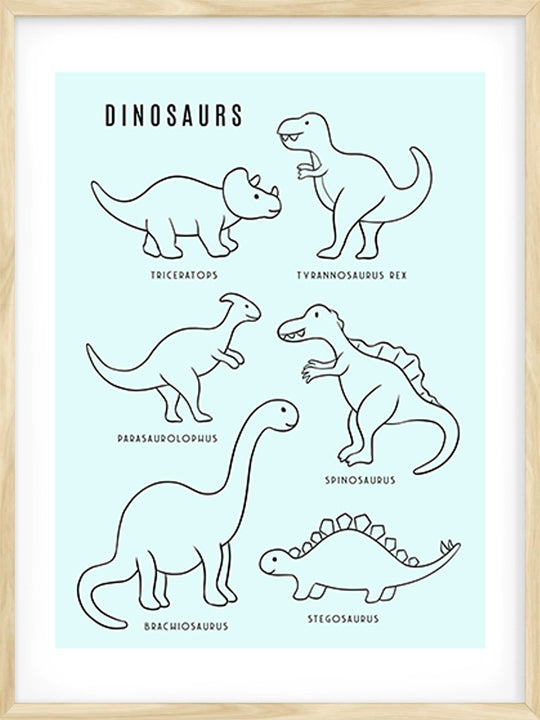 Dinosaurs - Blue - Poster