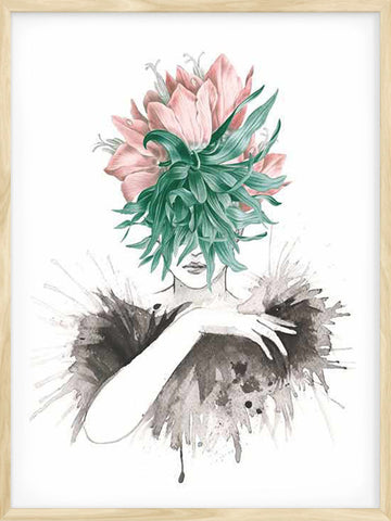 Party-Girl-Watercolor-surreal-illustration-Print-affiche