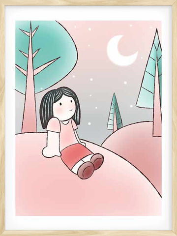 Posterwol-A-lovely-Night-cute-illsutration-of-a-little-girl-modern-wall-decor-art-poster