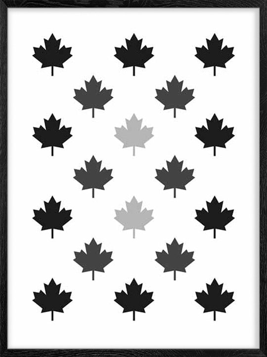 Maple Leaf Pattern - Monochrome - Poster