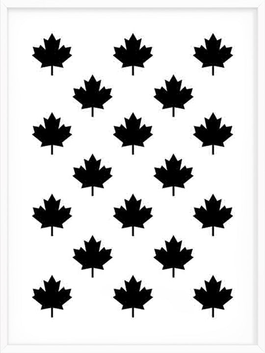 Canadian Maple Leaf Pattern - B&W - Poster