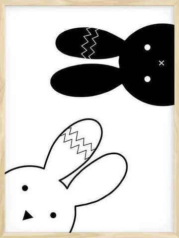 Cute-Rabbits-illustration-Black-and-white-Kids-Poster