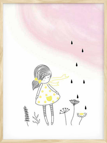 Rainy-Day-little-girl-illustration-kids-modern-Scandinavian-poster