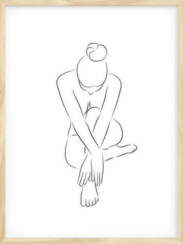 Girl-Sitting-minimalist-Scandinavian-style-Poster-with-Frame