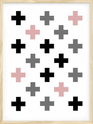 Swiss-Cross-colors-pattern-kids-nursery-print-in-pink-black-and-grey