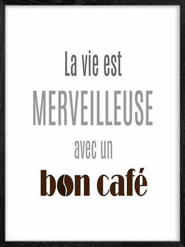 Un-bon-café-affiche-kitchen-office-poster-with-frame