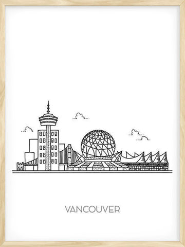 Vancouver-city-illustration-black-and-white-poster