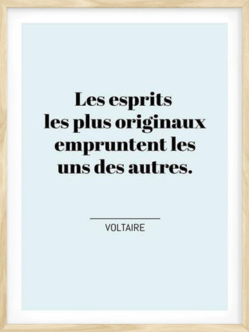 Voltaire's-Quote-French-Text-Affiche-Poster-with-black-Frame