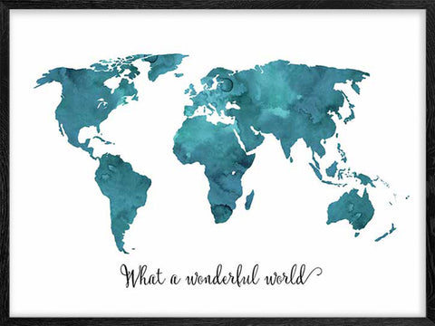 What-a-Wonderful-World-Map-Blue-Watercolor-Poster-affiche