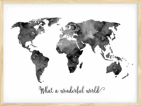 What-a-Wonderful-World-Map-Watercolor-Black-and-white-Poster