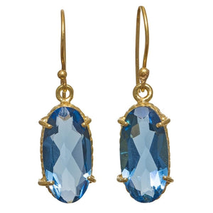 Gold-overlay Blue Hydro Quartz Earrings