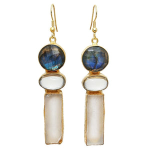 Gold-overlay Labradorite & Fluorite Earrings