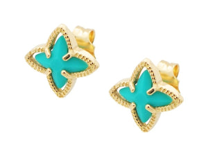Ocean Teal Enamel Stud Earrings