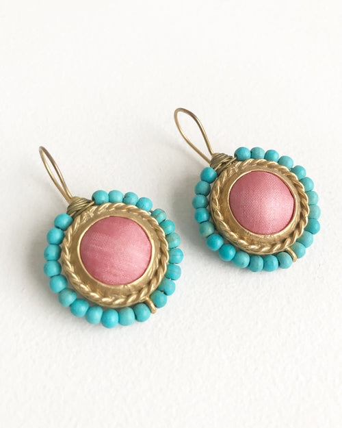 Coral & Turquoise Sunset Earrings