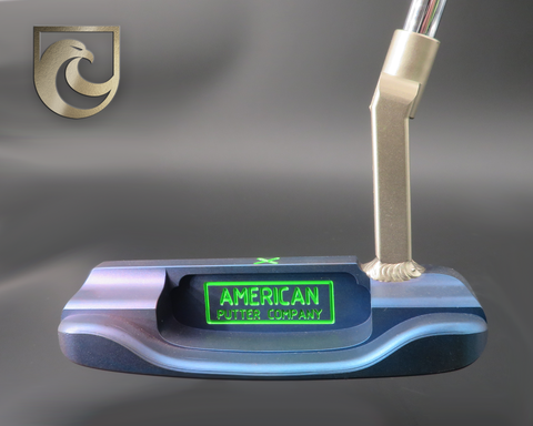 American Putter Company Oak Dale Left Hand Diamond Blue Carbon Putter with Weld Neck  (COA 334)