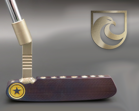 American Putter Company Oak Dale Left Hand Plasma Purple Finish Carbon Putter with Weld Neck (COA 341)