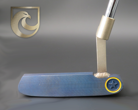 American Putter Company Oak Dale Right Hand Diamond Blue Carbon Putter with Weld Neck (COA 338)