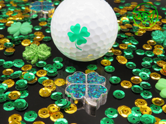 APC St. Patrick's Day 1/50 Clover Ball Marker: Copper or Stainless with Black Emerald, Crushed Opals