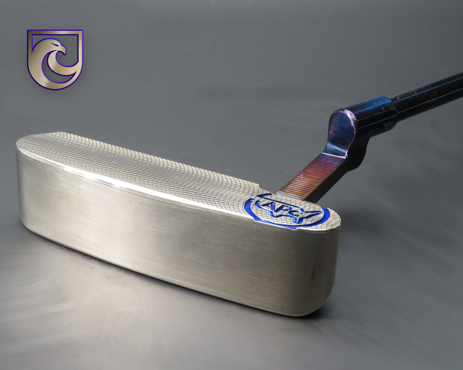 American Putter Company Oak Dale Right Hand Putter: Diamond Timascus Insert,  Silver Stainless with Weld Neck (COA 355)