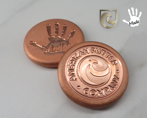 American Putter Company & Gibbons Handmade Pure Copper Hand & Eagle Ball Marker