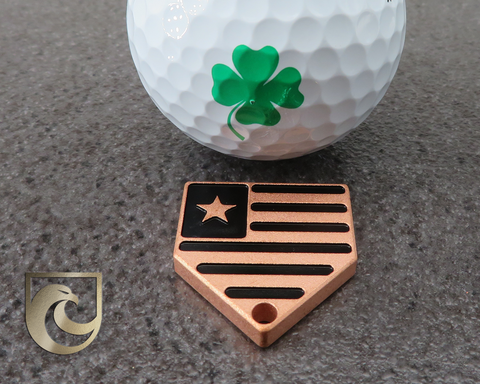 ( PICK CUSTOM COLOR) American Putter Company Home Plate Ball Marker / Key Chain / Pull: Pure Copper
