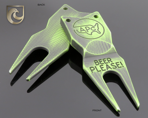 "American Putter Company Battle Worn Green & Black Divot Tool 1.0 Stainless (""Beer Please"")"