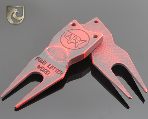 "American Putter Company Battle Worn Red & Black Divot Tool 1.0 Stainless (""Four Letter Word"")"