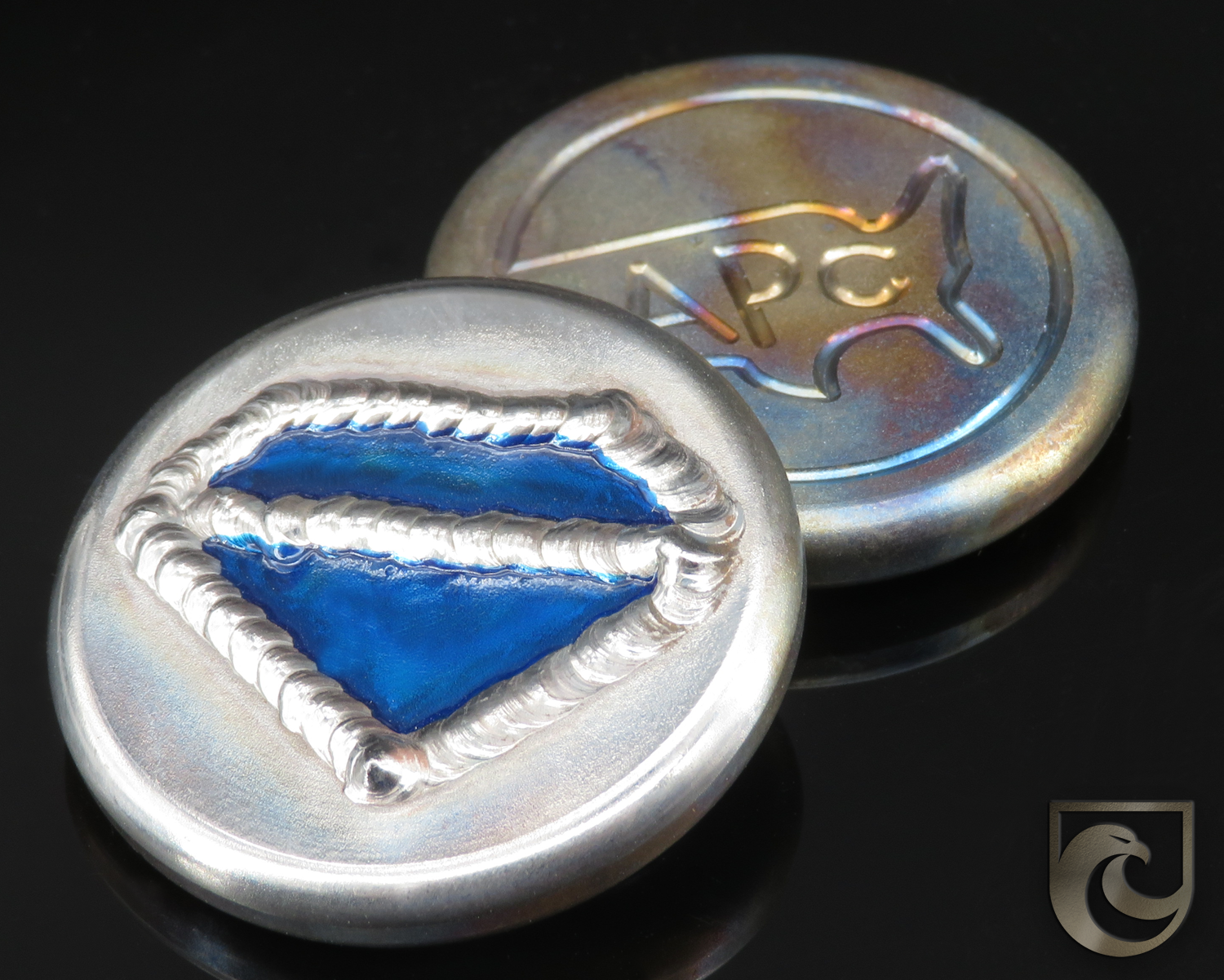 ( PICK CUSTOM COLOR) American Putter Company Blue Diamond Welded Ball Marker: Hand Painted & Cosmic Back