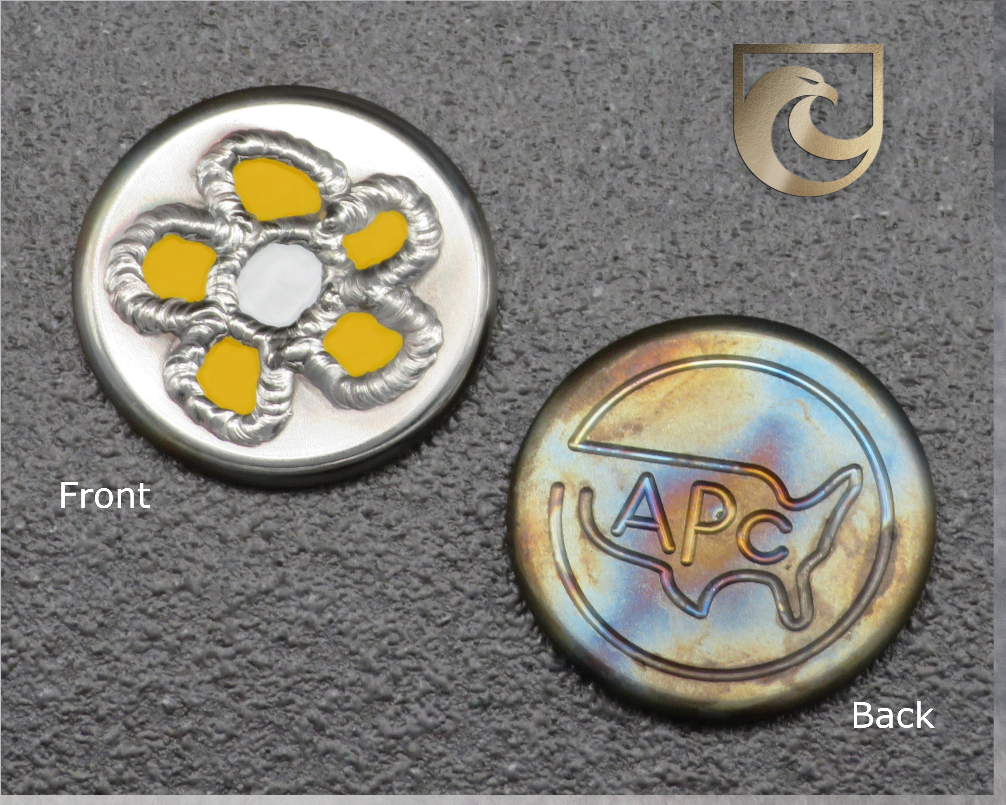 ( PICK CUSTOM COLOR) American Putter Company Welded Flower Ball Marker: Hand Painted & Cosmic Back