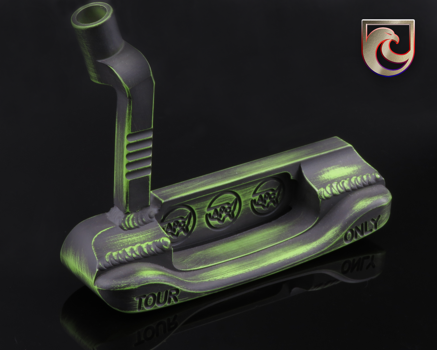 American Putter Company Stainless & Carbon Oak Dale in Green & Black Battle Worn Finish with Weld Neck