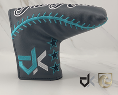 "American Putter Company & Diamond Krew ""The Krew"" Grey & Robins Egg Baseball Stitch Headcover"