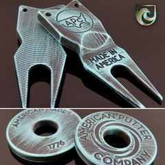 American Putter Company Custom Divot Tool 1.0 & HALO Vortex Stainless Battle Worn Robins Egg Blue & Black Finish