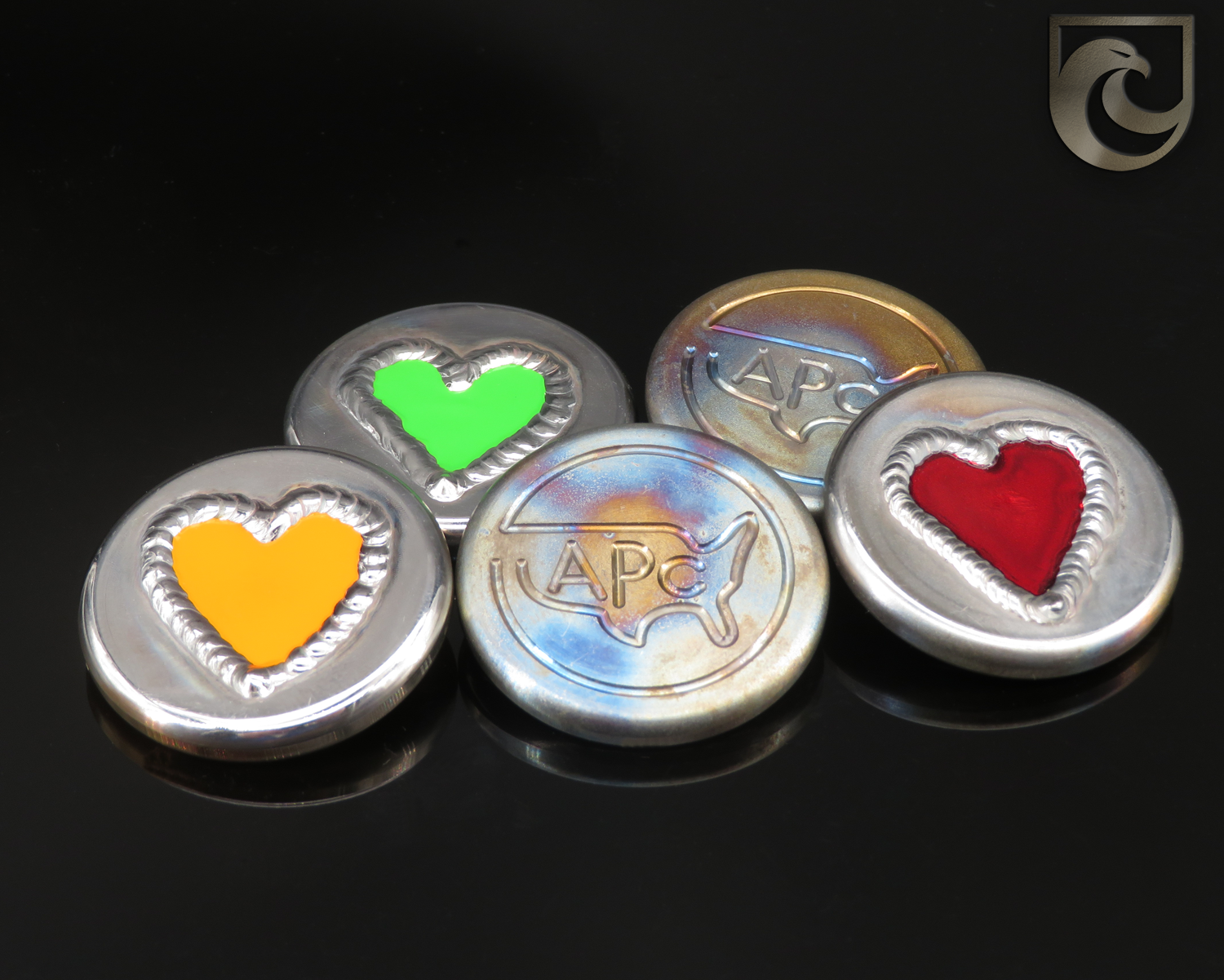 ( PICK CUSTOM COLOR) American Putter Company Heart Welded Ball Marker: Hand Painted & Cosmic Back