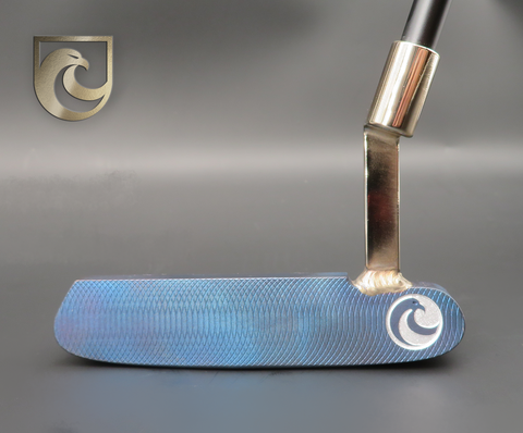 American Putter Company Oak Dale Right Hand Diamond Blue Carbon Putter with Weld Neck (COA 359)