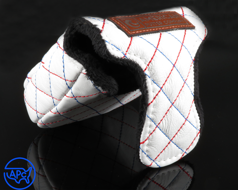 American Putter Company Savannah Headcover Mallet: White Leather with Blue & Red Cross Stitch
