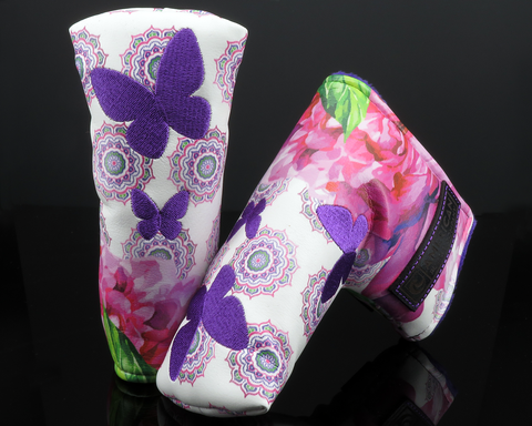 American Putter Company Mothers Day: Inked & Embroidered Peony Flowers and Butterflies Blade Putter Headcover