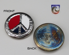 ( PICK CUSTOM COLOR) American Putter Company Peace Sign Welded Ball Marker:  Hand Painted & Cosmic Back