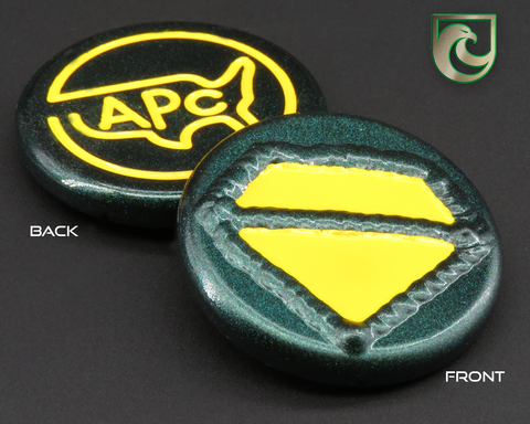 American Putter Company Welded  Diamond Ball Marker: Green Pearlized Finish with Yellow Paint