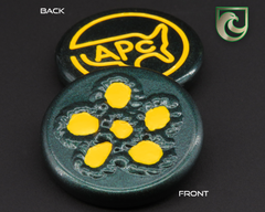 American Putter Company Welded Flower Ball Marker: Green Pearlized Finish with Yellow Paint