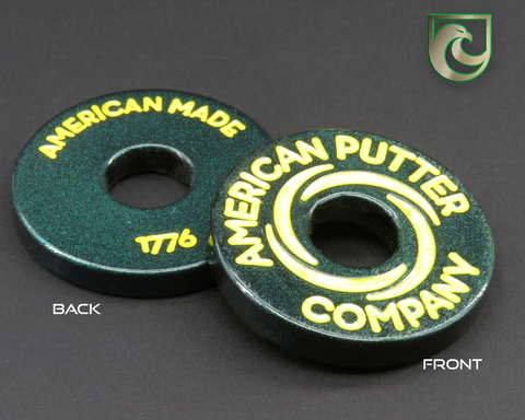 American Putter Company Green Pearlized Halo Vortex Ball Marker Stainless! Hand Painted!