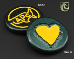 American Putter Company Welded Heart Ball Marker: Green Pearlized Finish with Yellow Paint