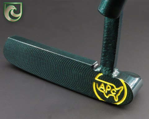 American Putter Company Carbon Oak Dale Weld Neck in Pearlized Green Finish with Yellow Paintfill!