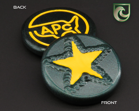 American Putter Company Welded Star Ball Marker: Green Pearlized Finish with Yellow Paint