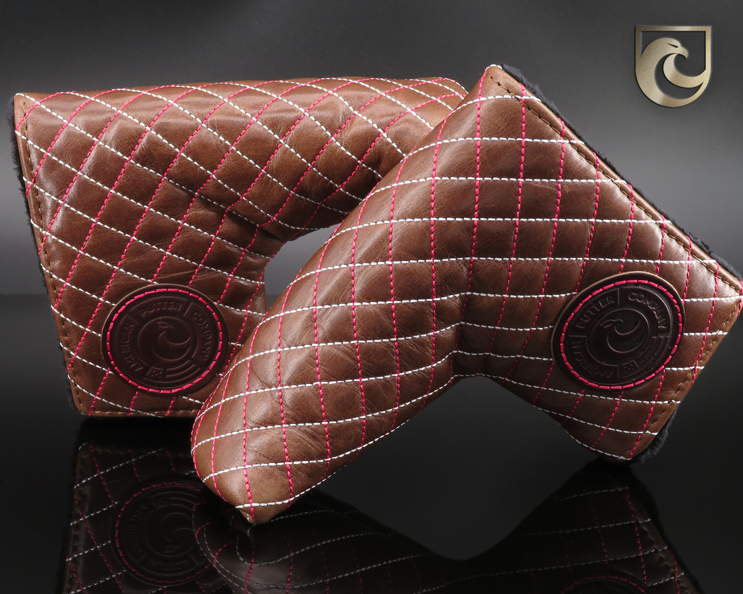American Putter Company Savannah Headcover: Italian Brown Leather with Ruby (Vibrant Pink) & White Cross Stitch!