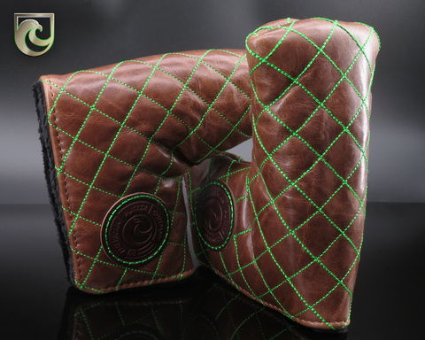American Putter Company Durango Brompton Leather Headcover : Java Brown & Green Diamond Stitch