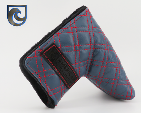 American Putter Company Winston Headcover: Italian Leather, Slate with Red Double Stitch