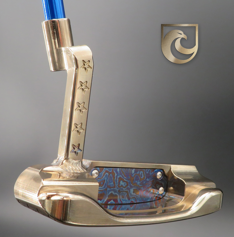American Putter Company Oak Dale Right Hand Putter: Timascus Insert,  Atomic Bronze with Weld Neck (COA 339)