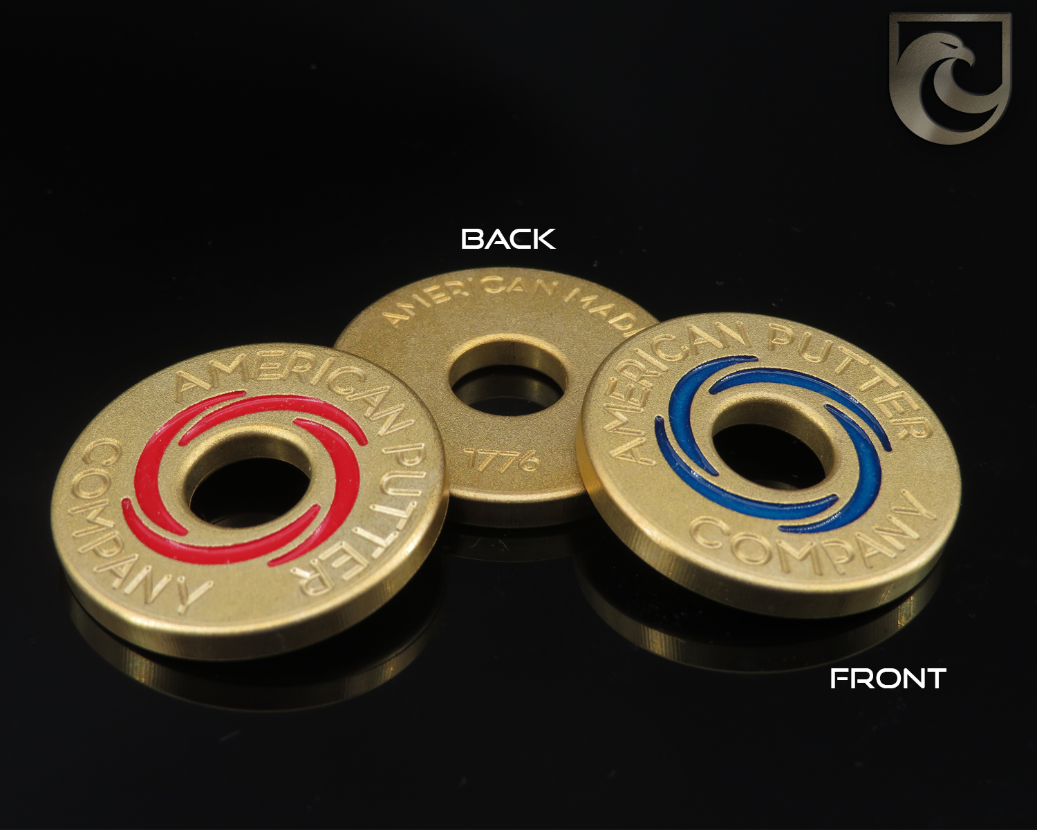 ( PICK CUSTOM COLOR) American Putter Company Halo Vortex Ball Marker BRASS : Hand Painted