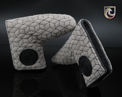 American Putter Company Memphis Headcover : Grey Leather Suede with Black Geometric Stitch