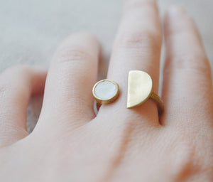 Half Moon Brass & Cement Adjustable Ring